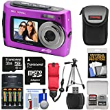 Bell & Howell 2VIEW18 HD Dual Screen Waterproof Digital Camera (Purple) with 32GB Card + Batteries & Charger + Case + Tripod + Floating Strap + Kit