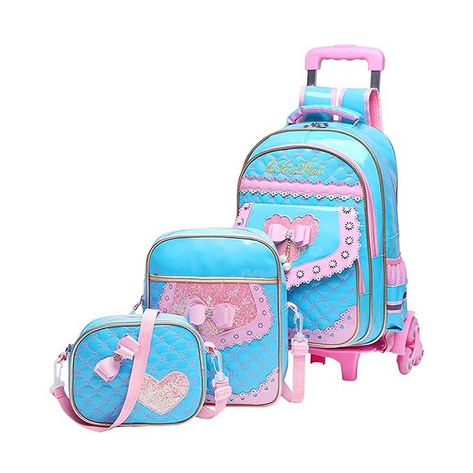 Zhhlaixing Niños Portable Rolling Backpack Pack of 3 Reducir la Carga - Bello Bowknot Mochila con Ruedas Para Niños Maleta Desmontable para Estudiantes de ...