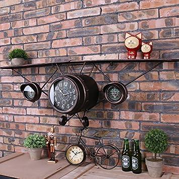 WXX Hierro Vintage aviones Reloj mural creativo de la pared relojes decorativos pared reloj modelo avión colgante , brown: Amazon.es: Hogar