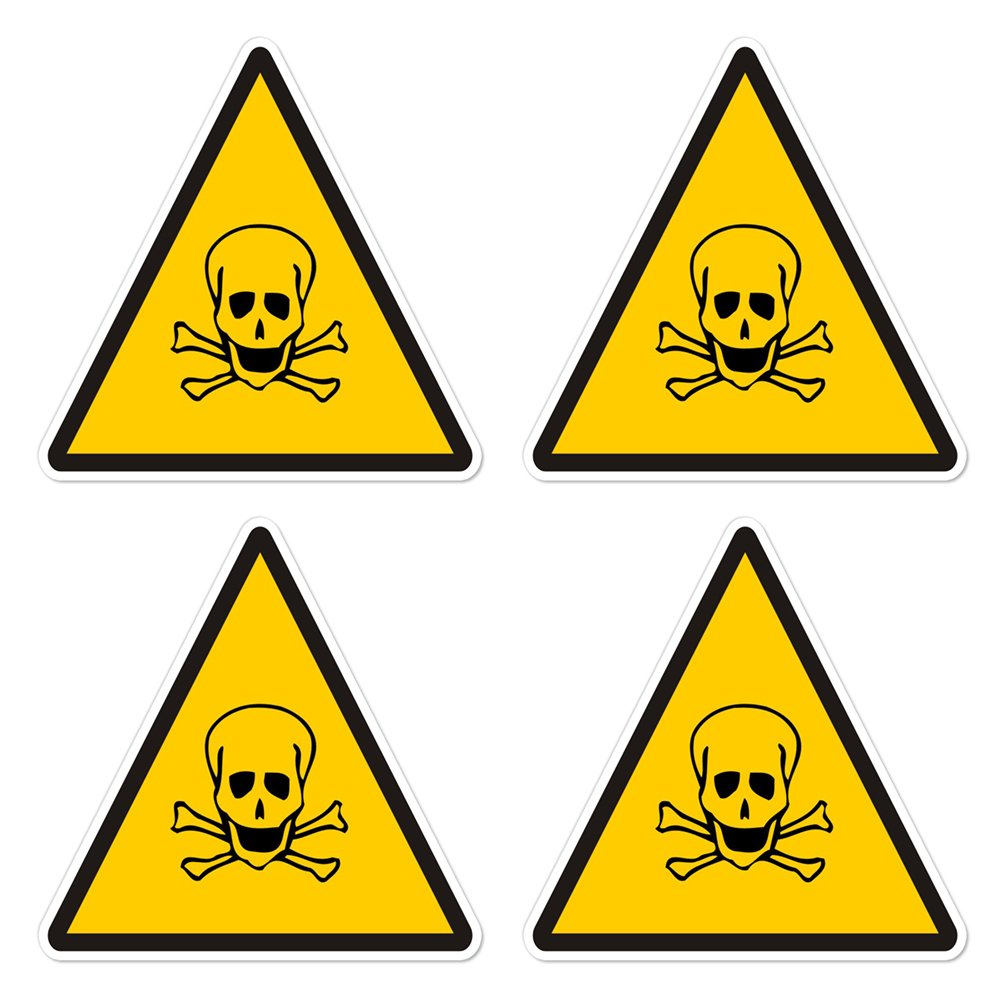 eb47fd491131 dealzEpic - Yellow Triangle Poison/Toxic Warning Sign with a Skull and  Crossbones - Self Adhesive Peel and Stick Vinyl Sticker - 3.94 x 3.94  inches | ...