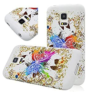 Seedan Samsung Galaxy S5 mini SM-G800 (Not Fit For S5) Case TPU Soft Protective Flexible Back Cover - Colorful Butterfly Painted
