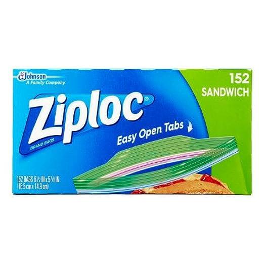 Ziploc Sandwich Bags, 152 Bags, Easy Open Tabs