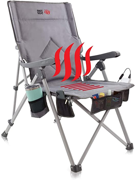 POP Design, The Hot Seat, Heated Portable Chair, Perfect for Camping, Sports, Beach, and Picnics. USB Heated with Extra-Large Armrests, X-Large Travel Bag, 5 Pockets, Cup Holder, Battery NOT Included