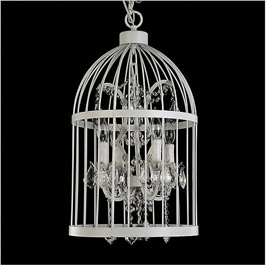 ZHIYUAN Araña blanca jaula lámpara de salón cristal escaleras ...