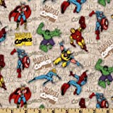 44'' Wide Marvel Retro Comics Tossed Comics Heroes Beige Fabric By The Yard