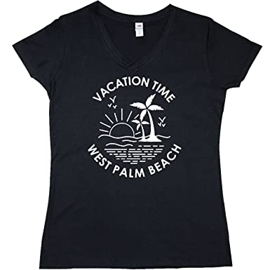 inktastic - Vacation Time in West Palm Junior V-Neck T-Shirt Small Black