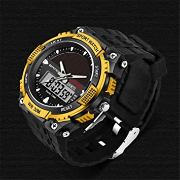 Qonei Reloj Inteligente, Reloj electrónico Luminoso, Solar, a Prueba de Agua, para