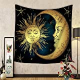 Celestial Indian Sun and Moon Hippie Hippy Tapestry Wall Hanging Throw Tie Dye Hippie Hippy Boho Bohemian Wall Art - Window Curtain Table Cover Bedspread Beach Towel Tapestry HYC20-US (#3)