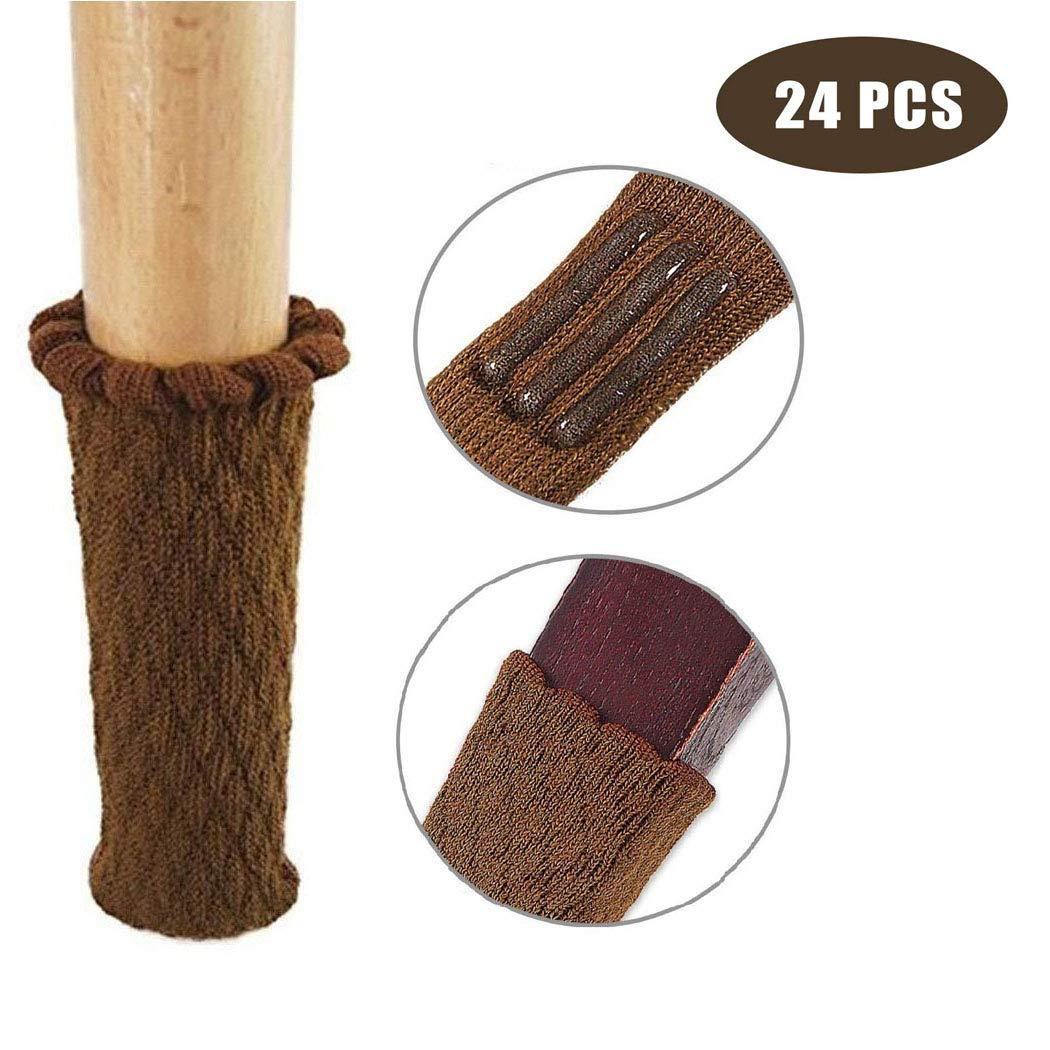 Light Brown Fit Diameter from 1 to 2 24 PCS Furniture Socks Chair Leg Floor Protectors Non Slip Chair Socks