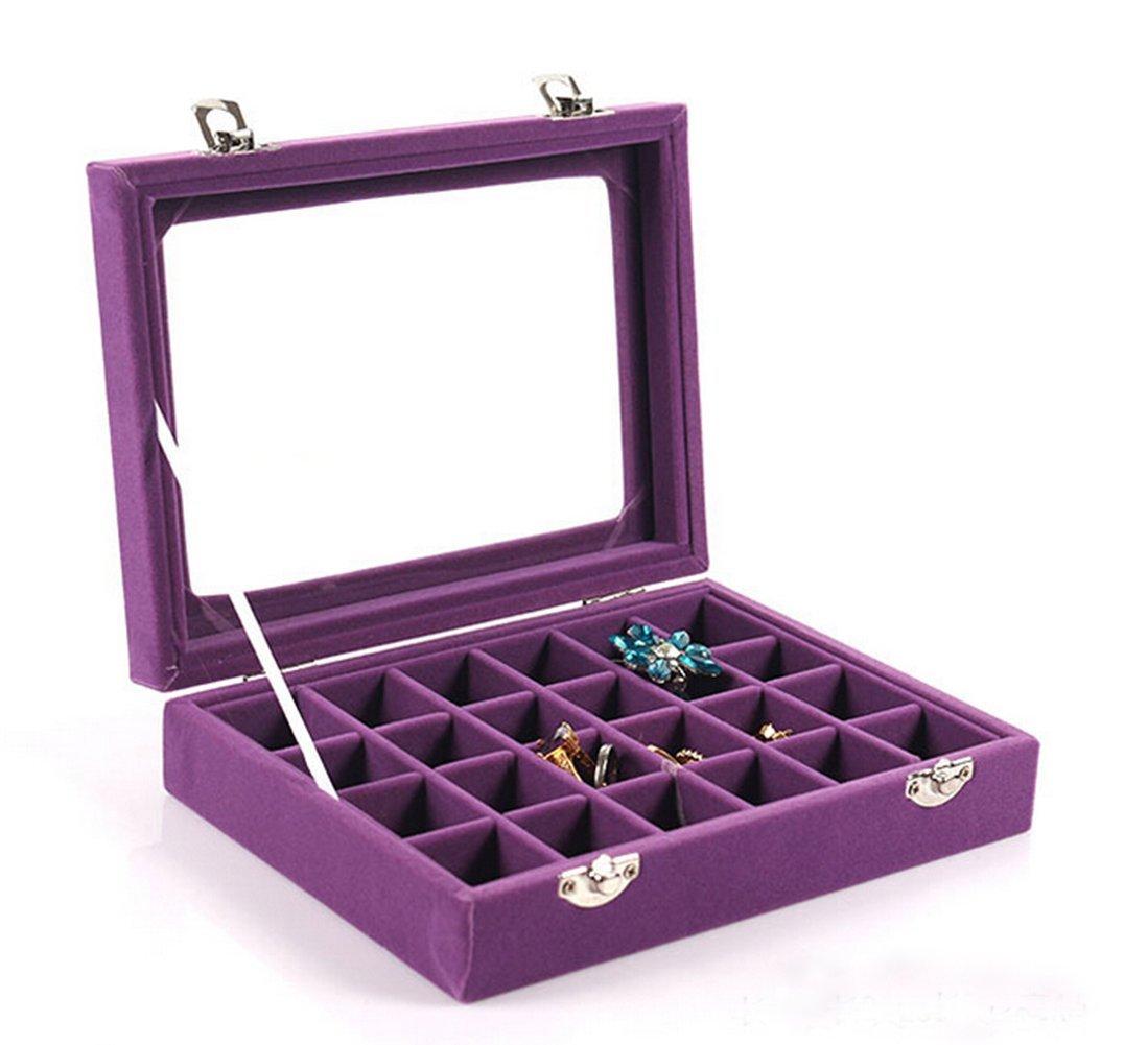 VANCORE Velvet Glass Jewelry Ring Display Organizer Box Tray Holder Earrings Storage Case Perfect Gift for Women