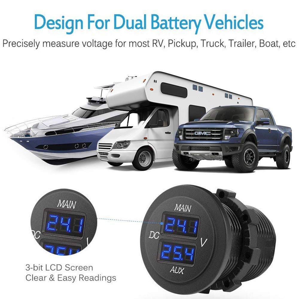 Blue Round Panel Voltage Monitor Gauge Tester for Car Pickup RV Truck Dual Battery Pack MNJ Motor LED Digital Double Voltmeter