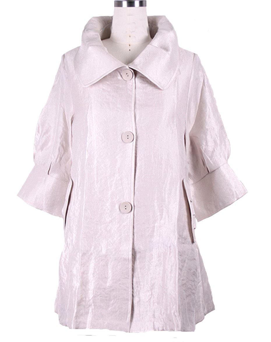 ''The Swing Jacket'' - Fun & Flattering Fashion - Style 200 by Damee NYC-medium(Champagne White) by Damee