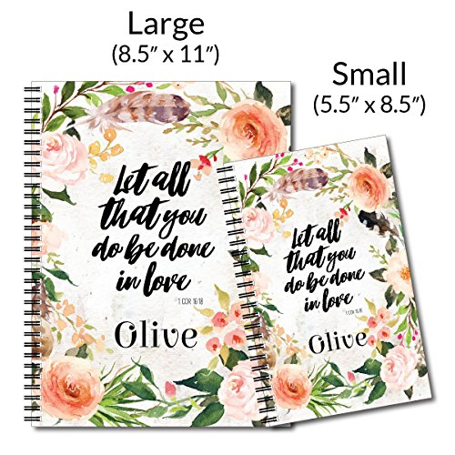 Done in Love Personalized Religious Spiral Notebook/Journal, 120 College Ruled or Checklist Pages, durable laminated cover, and wire-o spiral. 8.5x11 | 5.5x8.5 | Made in the USA Photo #4