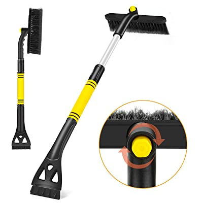 Fancytimes Car Snow Brush Extendable Snow Removal with Ice Scraper & Foam Grip Detachable Snow Ice Removal, No Scratch Winter Cleaning Tool for Car Auto Truck SUV Windshield Windows (Yellow & Black): Automotive