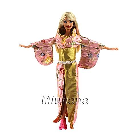Amazon.es: Miunana 1 Vestido Estilo Japonés Kimono Japonesa Disfraz Ropa para Muñeca Barbie Doll: Juguetes y juegos