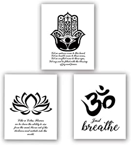 "HPNIUB Yoga Art Print Set of 3 (8""X10""Lotus Flower Prints, Om Symbol Prints, Inspirational Zen Wall Art, Black and White Art Mehndi Yoga Artwork, No Frame"