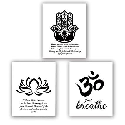Amazoncom Homdeco Yoga Art Print Set Of 3 8x10lotus Flower