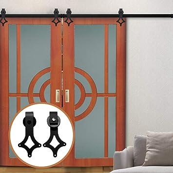 LWZH - Kit de accesorios para puerta corrediza de granero de 11 pies para perchas con forma de rombo negro de doble puerta (cada puerta mide 33 pulgadas): Amazon.es: Bricolaje y herramientas