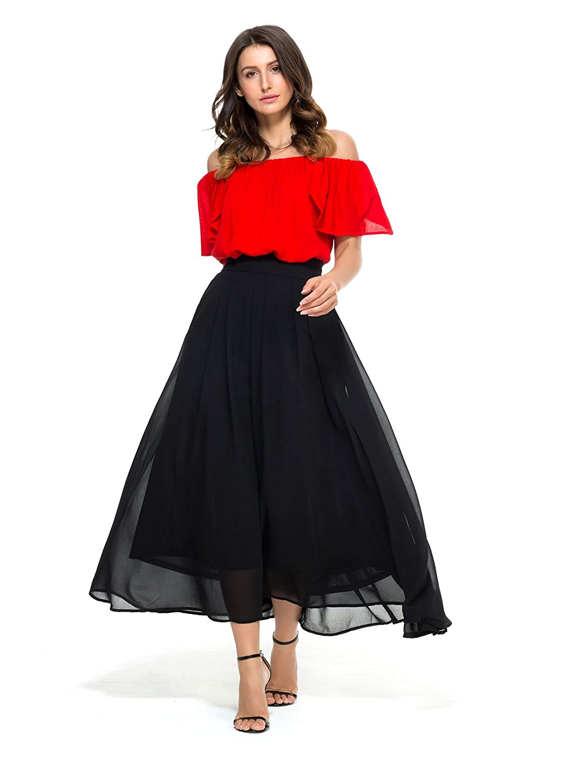 PERSUN Women s Maxi Skirts Casual Pleated A-Line Long Skirt at Amazon  Women s Clothing store  30ea51dd8