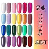 Vishine Gel Nail Polish 24 Colors Set Soak Off Gel Nail Polish Kit Nail Art Manicure Pedicure New Starter Pretty Color Collection Gift Set