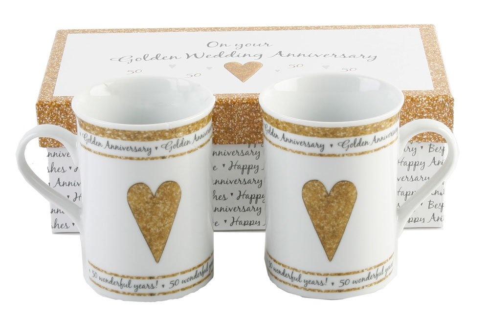 Pair Of Gift Boxed Golden Anniversary Mugs