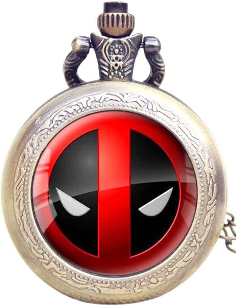 Collar de reloj de bolsillo con logo de Deadpool –efecto de bronce antiguo–caja de regalo con libre batería de repuesto