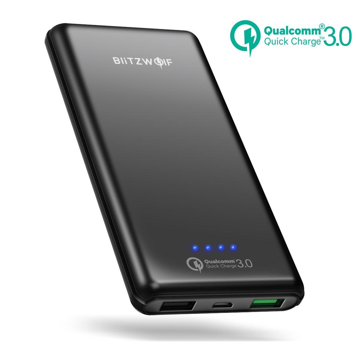 [Quick Charge 3.0] Batería Externa 10000mAh, BlitzWolf Cargador Portátil Qualcomm Carga Rapida 3.0 2 Puertos Power Bank para iPhone, Samsung Android ...