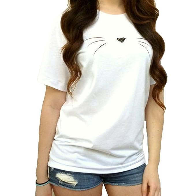 Juqilu Camisa de la blusa de las señoras Camisa linda del patrón del gato del algodón Camisa causal de la manga corta de las mujeres: Amazon.es: Ropa y ...