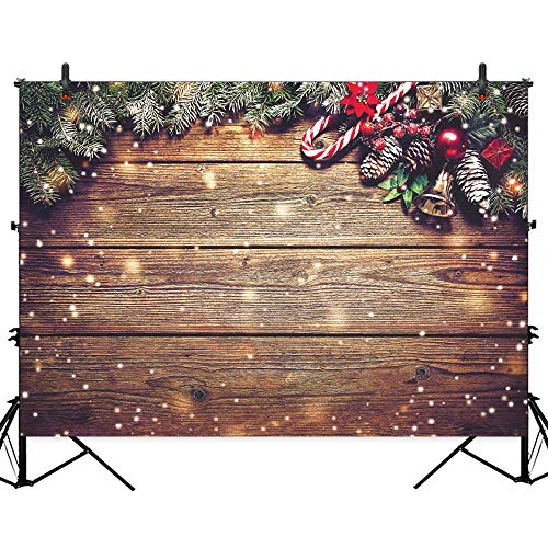 Allenjoy 8X6ft Christmas Fabric Photography Backdrop Snowflake Gold Glitter Xmas Wood Wall Rustic Barn Vintage Wooden Floor Background for Kids Portrait Photo Studio Booth Photographer Props (Christmas Of Photographs Vintage)