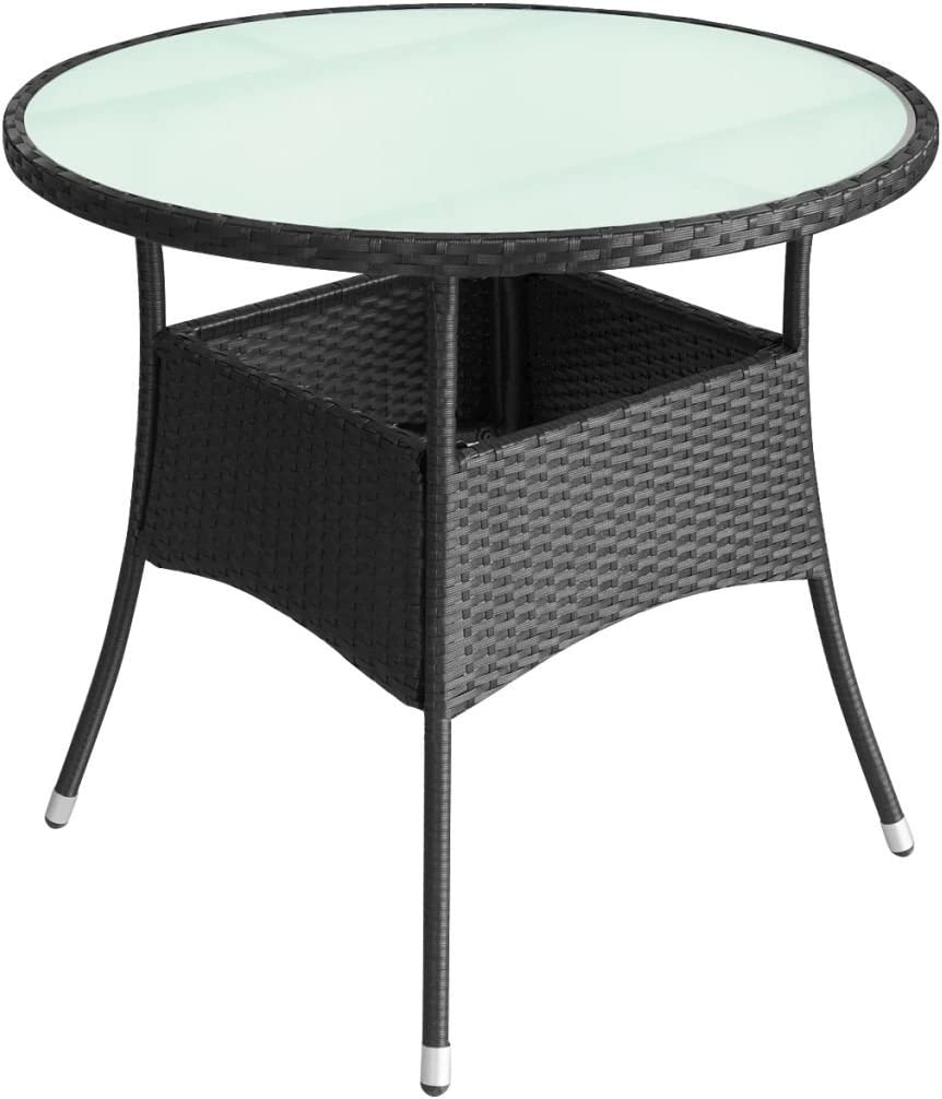 Amazon Com Canditree Outdoor Round Coffee Table Rattan Side