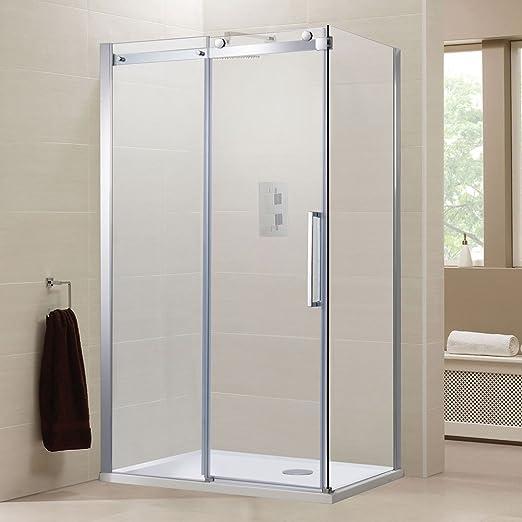 Sin Marco 1000 x 900 puerta corredera ducha con Panel lateral + bandeja Set – derecho entrada: Amazon.es: Hogar