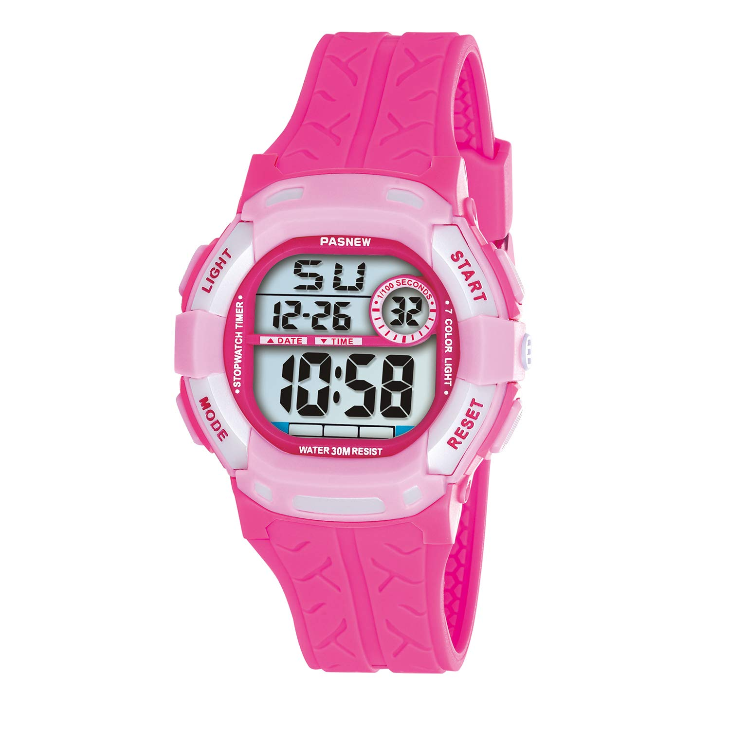 Kids Watches Waterproof 100FT Digital Sports Wristwatch with 7-Color Flashing LED Light Alarm Stopwatch Chime Date Day Rose Pink