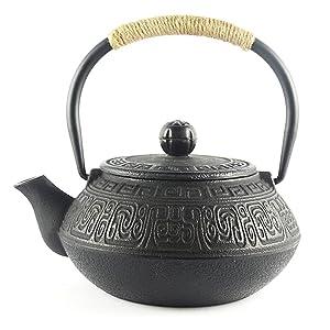 Hwagui - Best Japanese Cast Iron Teapot With Stainless Steel Tea Infuser, Black Tea Kettle 600ml/20oz