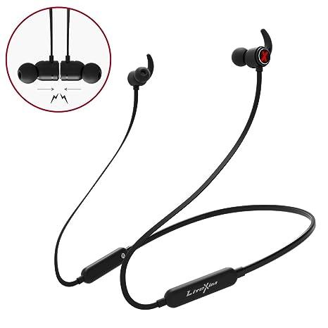 LiteXim Auricolari Bluetooth True Auricolari Wireless Cuffie da Palestra  con Microfono Design Magnete Noise Cancelling per 5b7de1913aa8