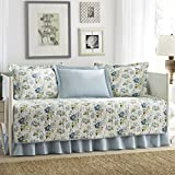 Laura Ashley 5-Piece Peony Garden Blue Daybed Cover Set, Twin, Floral