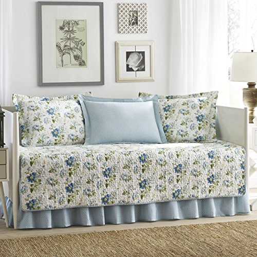 Laura Ashley 5-Piece Peony Garden Blue Daybed Cover Set, Twin, Floral - Blue Garden Bed Ensemble