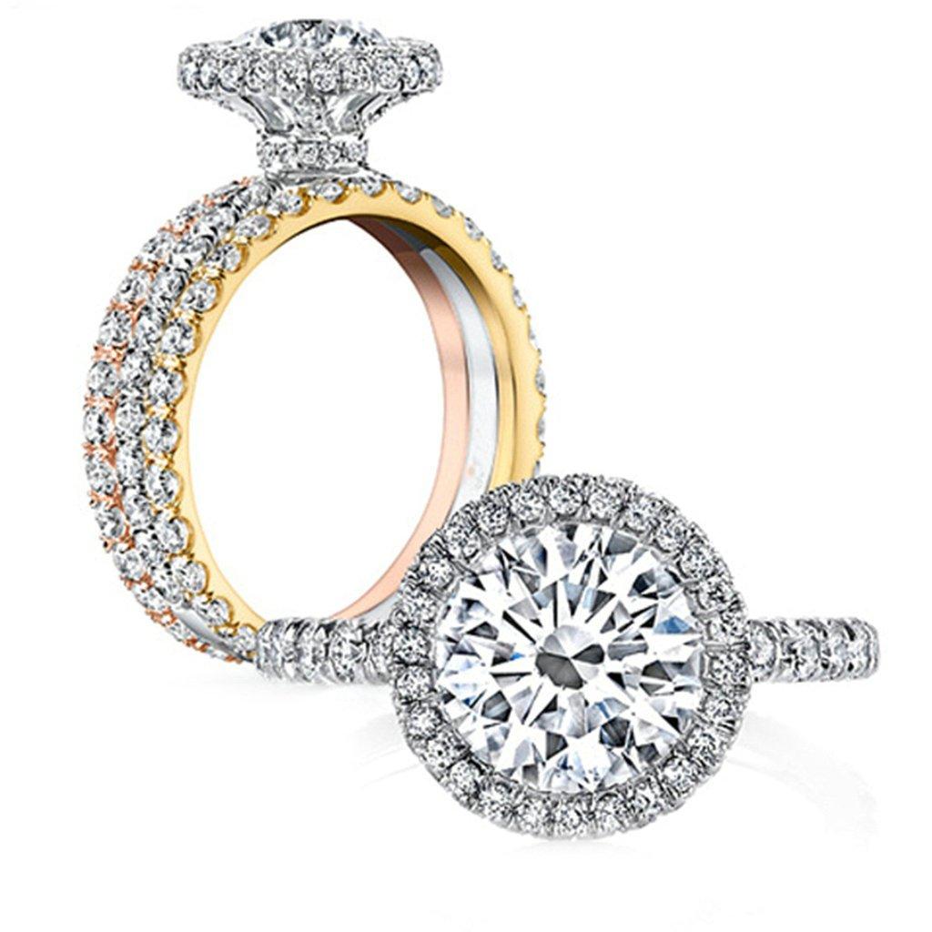 Epinki Custom Ring-925 Sterling Silver Women Ring Engagement Wedding Band Cubic Zirconia Round US Size 9