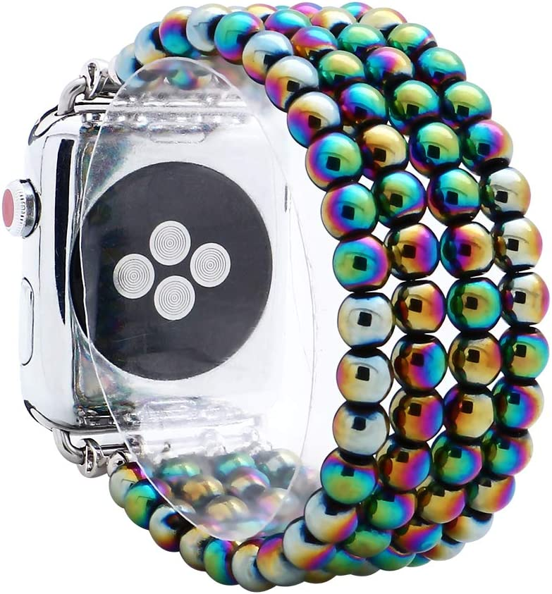 KAI Top Compatible for Apple iWatch Band 42mm 44mm, 6mm Hematite Beaded Elastic Band Comptible with iWatch Series SE & Series 6 5 4 3 2 1,Beaded Stretch Bracelet Replacement Strap Band for Women Girls