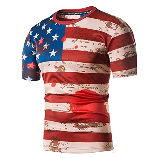b03554393c7 Forthery American Flag Men s T-Shirt Skull Short Sleeve Slim Crew Neck Tee  (Red