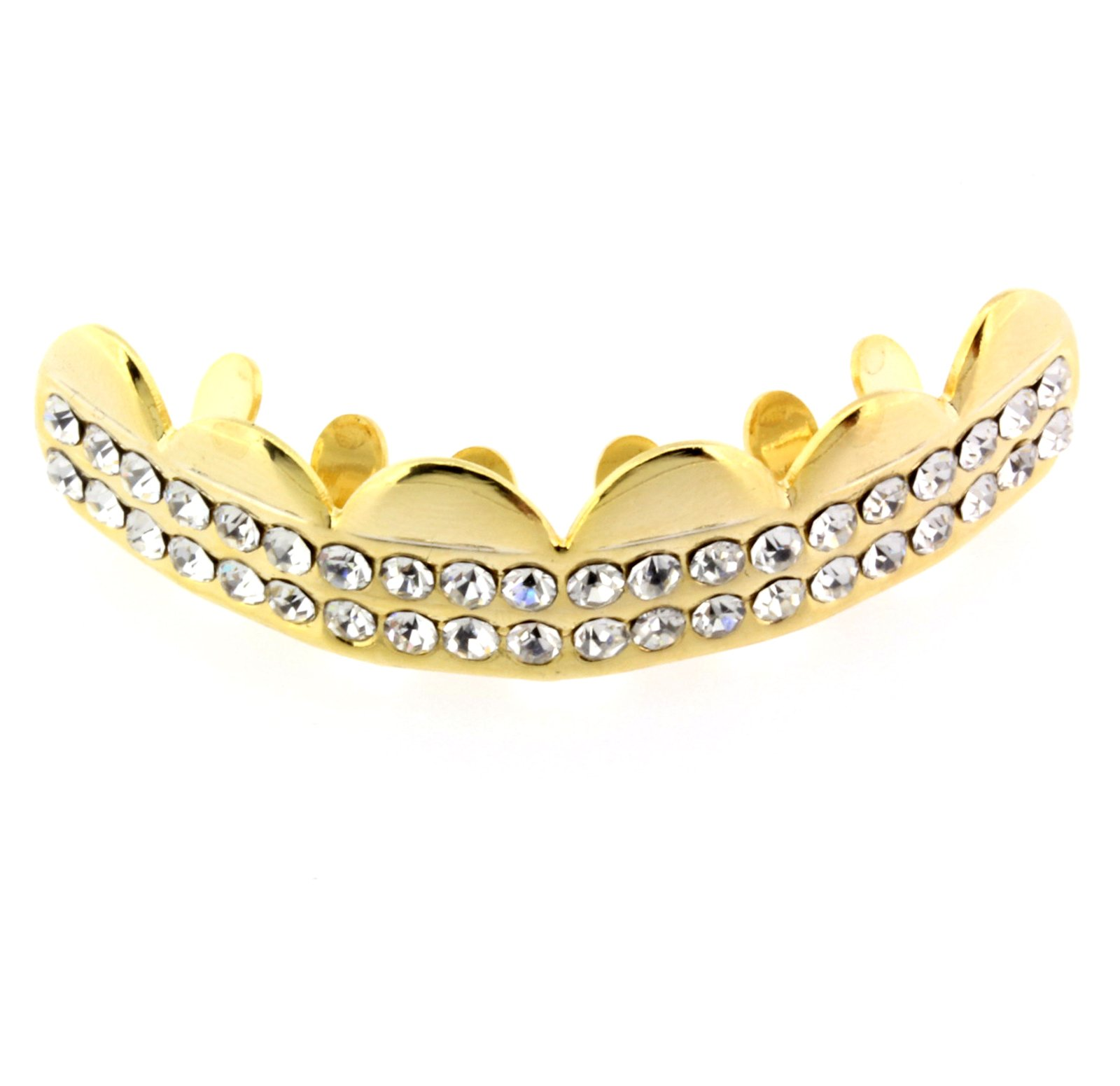 14K Gold Plated High Fashion Hip Hop Top Row Clear 2 Row Removeable Grillz Teeth Mouth Grills