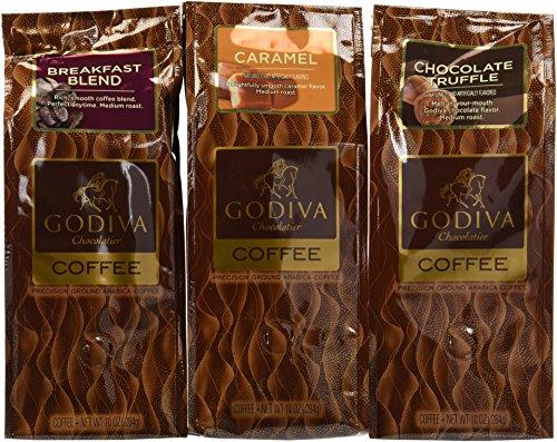 GODIVA Chocolatier Assorted Coffee, Ground, Set of 3, 10 oz. Each