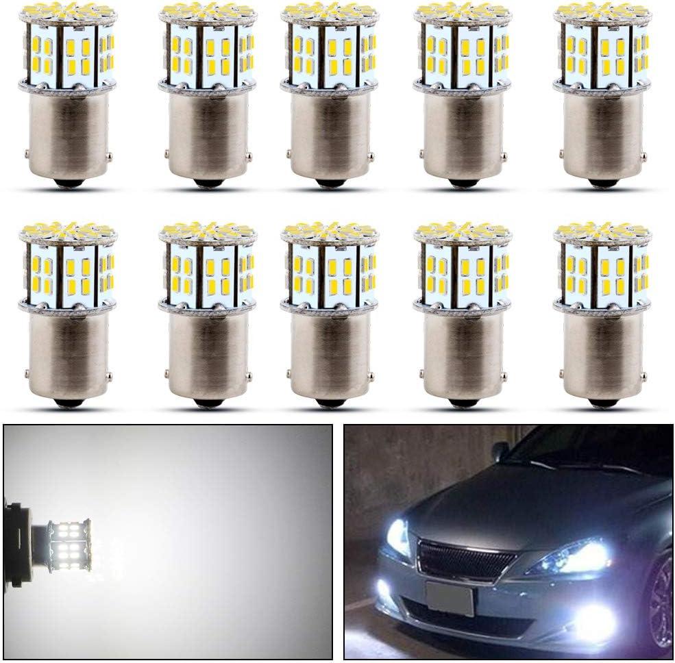 Fulintech 10x Auto Part P21W 1156 White 3014 Supe Bright 50 SMD Reverse Tail Stop Parking Light Light Bulbs