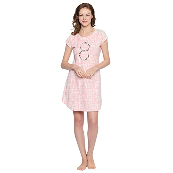 Nighty for Women - Pink Night wear - Short Nighty for Ladies ...
