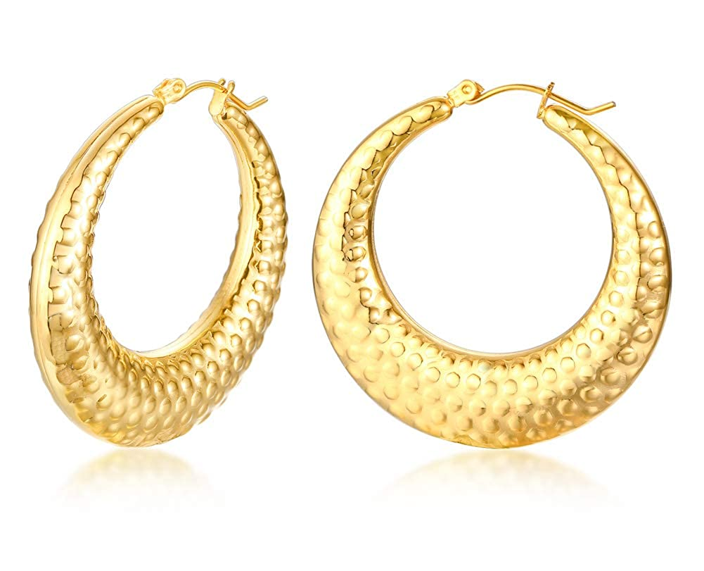 cfceff805 Amazon.com: Gold Plated Stainless Steel Hollow Simple Style Hoop Earrings  for Women Ladies Graceful Gift for Mom Girlfriend: Jewelry