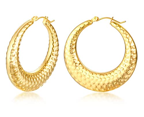 1911fc275 Image Unavailable. Image not available for. Color: Gold Plated Stainless  Steel Hollow Simple Style Hoop Earrings for Women Ladies Graceful Gift for  Mom