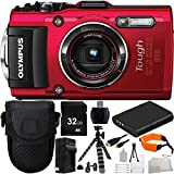 Olympus Stylus TOUGH TG-4 Digital Camera (Red) 21PC Accessory Kit. Includes 32GB Memory Card + High Speed Memory Card Reader + 2 Replacement Li-90 Batteries + AC/DC Rapid Home & Travel Charger + Gripster Tripod + Deluxe Camera Starter Kit + MORE