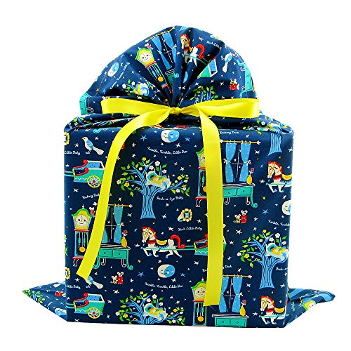 Nursery Rhymes Reusable Fabric Gift Bag for Baby Shower or Child's Birthday (Large 20.5 Inches Wide by 27 Inches High)