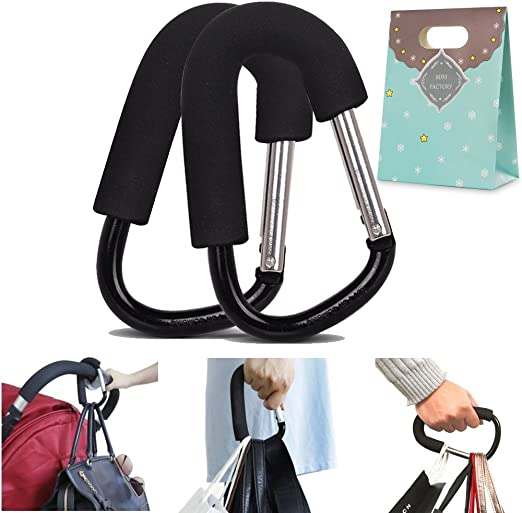2 pcs Carabiner Stroller Hook Organizer for Hanging Purses Clip Fits Single//Twin Travel Systems Diaper Bag Large Stroller Hooks for Mommy Car Seats and Jo Blue+Green Shopping Bags