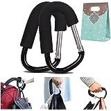 (Pack of 2) Extra Large Stroller Hooks, Mini-Factory Multi-Purpose Hanger Hooks for Diaper, Shopping Bags, Purses - Black