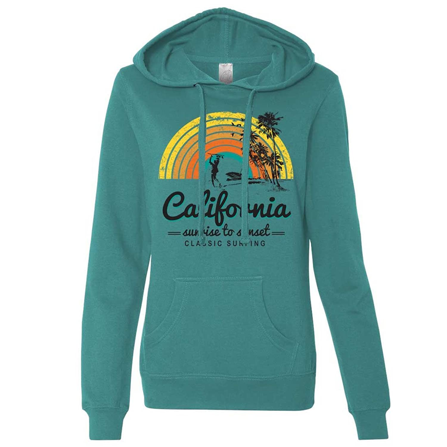 Hot Dolphin Shirt Co California Classic Sunrise Surfing Ladies Lightweight Fitted Hoodie
